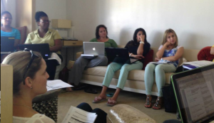 MBAWI LA Retreat working on couch